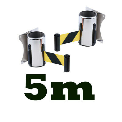 2x5m PROFESSIONAL Wall Mounted Crowd Control Wall Barrier Retractable Belt