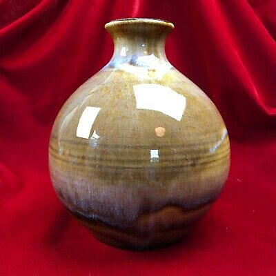 "Vintage Studio Art Pottery Vase Signed ""TODD"" High Gloss Amber Drip Glaze 7.5"""
