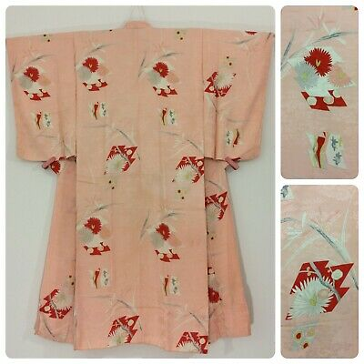 Japanese women's juban for kimono, pink silk, small-medium, flowers (F2647)