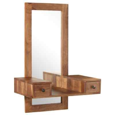 vidaXL Solid Sheesham Wood Cosmetic Mirror with 2 Drawers Bathroom Makeup