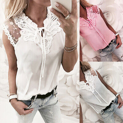 Women Floral Lace Sleeveless Blouse Lady Summer Tie up Mesh Vest Shirt Tops T99