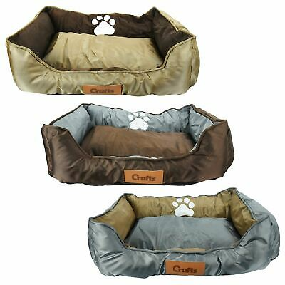 Luxury Crufts Oxford Nylon Pet Bed Dog Cat Puppy Kitten Comfy Cushion Small Warm