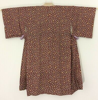 Japanese women's juban for kimono, bronw silk, short, medium (L2649)