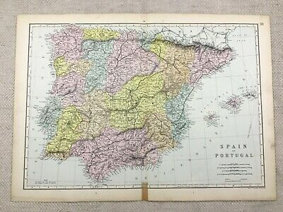 1891 Antique Map of Spain and Portugal Old Europe 19th Century Original