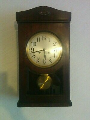 Antique 1930's Art Deco,Oak Cased Wall Clock striking, pendulum