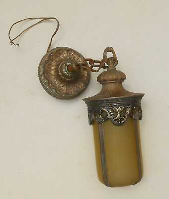 Antique Ornate Gothic Solid Brass Outdoor / Ceiling Fixture w. Amber Glass Shade