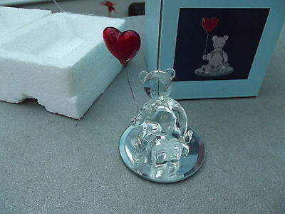 Handcrafted Glassware Teddybear With Gift And Red Heart Baloon