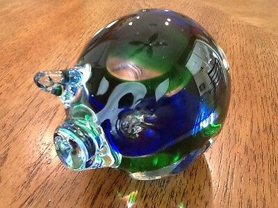 Pig Artglass Paperweight, Green & Blue Swirl Coloring, Mint
