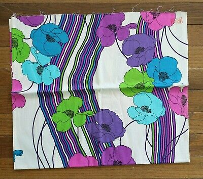 Vintage THC Hawaiian Textiles Neon Floral Fabric 60s Bright Blue Green Mod Pink