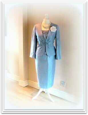 Designer GINA BACCONI Baby Blue MOTHER of the BRIDE Top/Jacket/Skirt-18