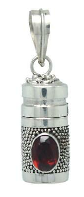 Handmade Solid Sterling Silver .925 Bali Small Dot Urn/Perfume Pendant w Gems.