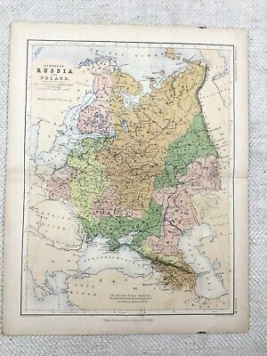 1866 Antique Map of Russia Poland Eastern Europe Old 19th Century Original