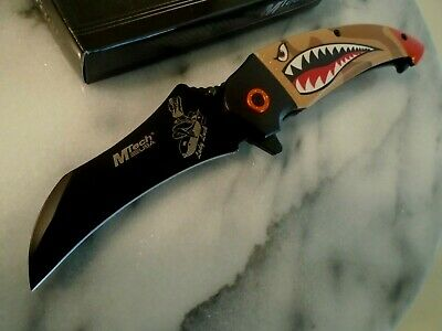 Mtech Tiger Shark Bomber Assisted Open Claw Tactical Pocket Knife Camo A1130TN