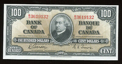1937 Bank of Canada $100 - Gordon Towers - BC-27b. S/N: B/J3619132