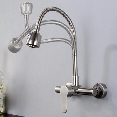 Wall Mount Spray Bathroom Kitchen Sink Faucet Swivel Spout Tap Mixer SUS Brushed