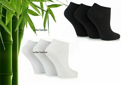 12 Pack Mens Womens BAMBOO Trainer Socks Trainer Boot Ankle Footwear Black,White