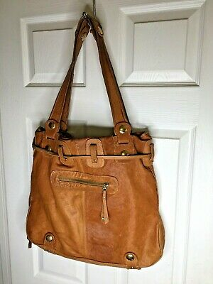 Vintage GUSSTO LARGE Camel Color Leather Shopper Tote PURSE Hand Bag FLAWS