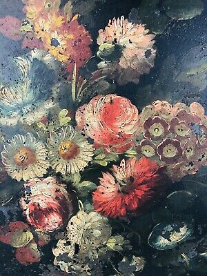 ANTIQUE Large Tole Tray VICTORIAN Hand Painted FLOWERS Metal Serving Tray