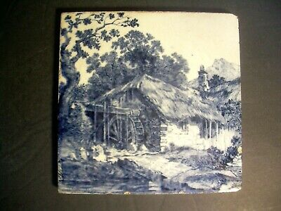 Antique Mintons China Works Stoke On Trent BLUE Transferware Tile 6x6~MILL SCENE