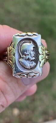 Vintage Men Ostby Barton Style Sterling Roman Soldier Antique Signet Ring