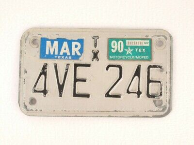 Vintage License Plate Authentic Motorcycle Moped Texas 1990 TX 4AVE 246 White
