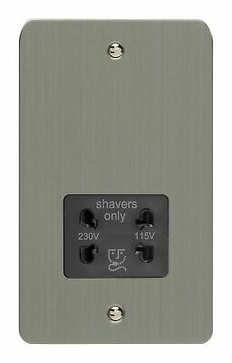 Varilight XFSSSB Ultraflat Brushed Steel Dual Voltage Shaver Socket 240V/115V