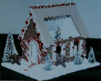 KIT Miniature faux GINGERBREAD HOUSE w/ trees candy base doll Christmas display
