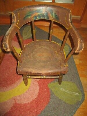 Antique 1800's Wood Childs Doll Windsor Potty Chair Hand Painted Primitive AAFA