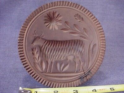 """Great Antique 1800S Carved Cow Butter Mold Stamp Americana Folk Art 4-3/4"""" Diam."""