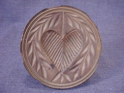 Great Antique 1800S  Hand Carved Heart Butter Mold Stamp Americana Folk Art
