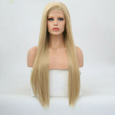 """AU 24"""" Handtied Silky Straight GlueLess Lace Front Wig Synthetic Hair Ash Blonde"""