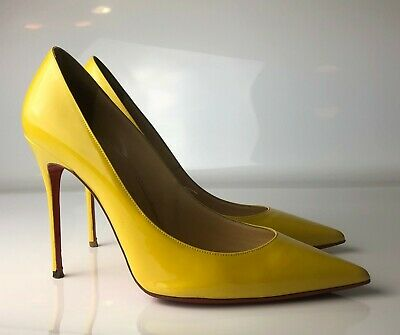 detailed pictures 25e61 d56b1 CHRISTIAN LOUBOUTIN DECOLLETE 554 100mm Yellow Patent Pointed Pumps Euro 40