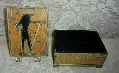 Egyptian Anubis Jackal God Of Embalming And The Dead Resin Footed Jewelry Box
