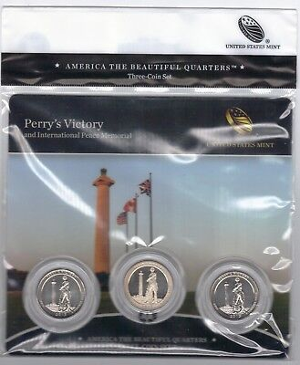 BU sealed 2013 Perry's Victory PDS ATB 3-coin set National Parks US Mint