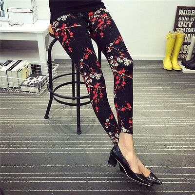 POPULAR Floral Pattern Funky Plum Blossom Printed Leggings Trousers Pants HOT