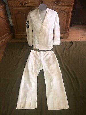 Vintage WW2 WWII USN Navy Boatswains Mate Uniform Set White Jacket Trousers