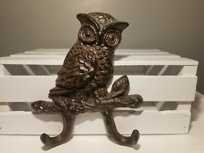 Cast Iron Owl Wall Mount 2 Hook Coat Hat Key Towel Hook Hanger