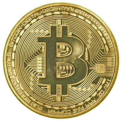 10pcs Gold Plated Bitcoin Coin BTC Coin Souvenir Art Business Collectible