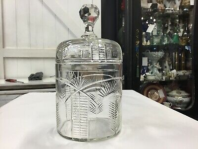 Antique Crystal Victorian Biscuit Barrel Vintage