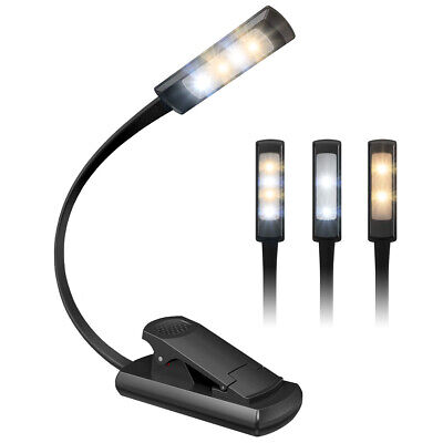 AMIR Rechargeable LED Book Light 3 Lighting Modes Switchable 4 LED Reading Light