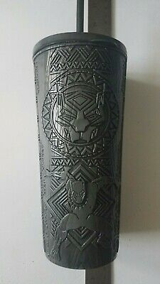 RARE Cinemark Marvel Black Panther Beveled Collectible Cup, Straw & Lid FREESHIP