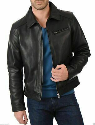 Men's Fashion Plain Simple Collared Cow Leather Jacket Legend style