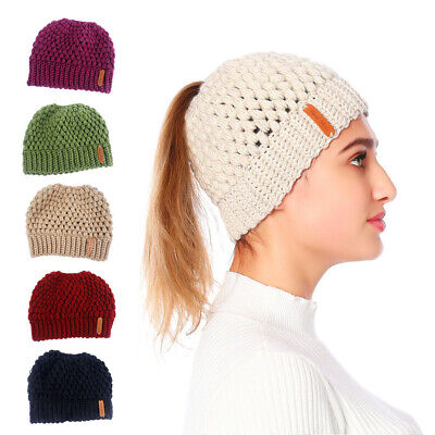 Women Tail Beanie Hat Messy Soft Ponytail Cap Stretchy Knitted Crochet Popcorn