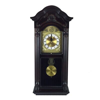 Bedford Clock Collection 25.5 Antique Mahogany Cherry Oak Chiming Wall Clock ...