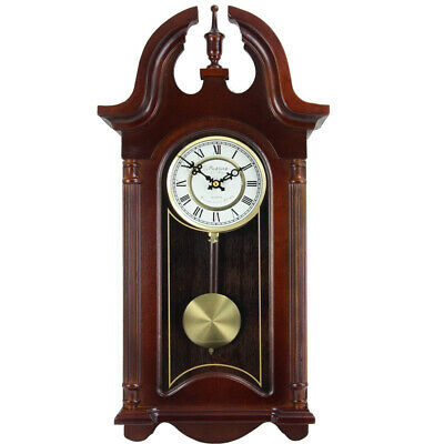 Bedford Clock Collection 26.5 Colonial Mahogany Cherry Oak Finish Chiming Wal...