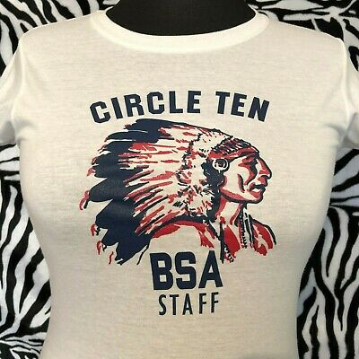 1950s Vintage CIRCLE TEN BSA STAFF Native American Indian Chief Western T-Shirt