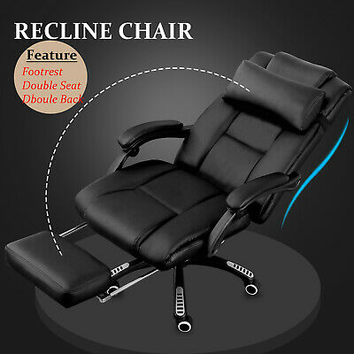 📦Home Office Executive Computer Chair Footrest Recliner Racing Lift Fx Leather