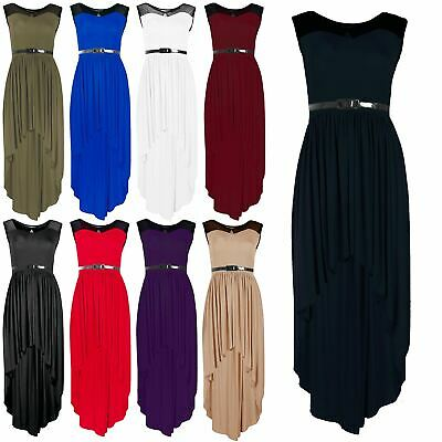 Womens Lace Mesh High Low Dip Belted Ladies Maxi Clubbing Party Midaxi Dress Top