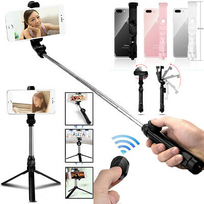 Extendable Selfie Stick Tripod Remote + Bluetooth Shutter for iPhone X 8 Plus