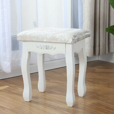 Sensational White Makeup Dressing Table Stool Bedroom Chair Padded Seat Andrewgaddart Wooden Chair Designs For Living Room Andrewgaddartcom